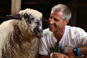 Gene Bauer with Sheep