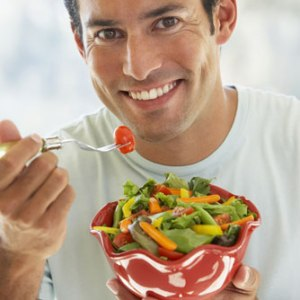 Man eating salad 2